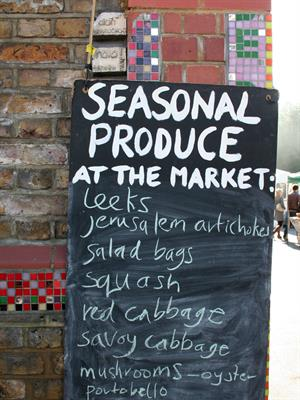 Seasonal produce available at farmers market